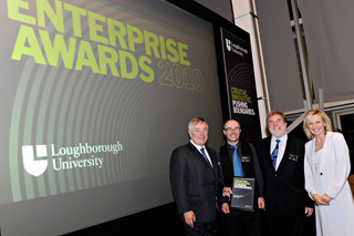 David Graham and Ian Reid (centre) receiving their award from Sir Nigel Rudd, Chancellor of Loughborough University, and Anne Davies, presenter of BBC East Midlands Today.